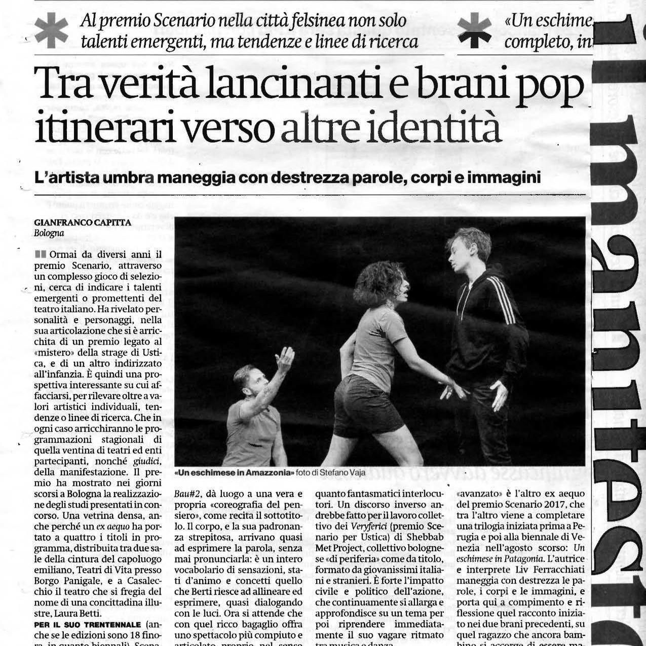 Il Manifesto / recensione e Premio Scenario Bau #2 / Barbara Berti / 2017 / TIR Danza
