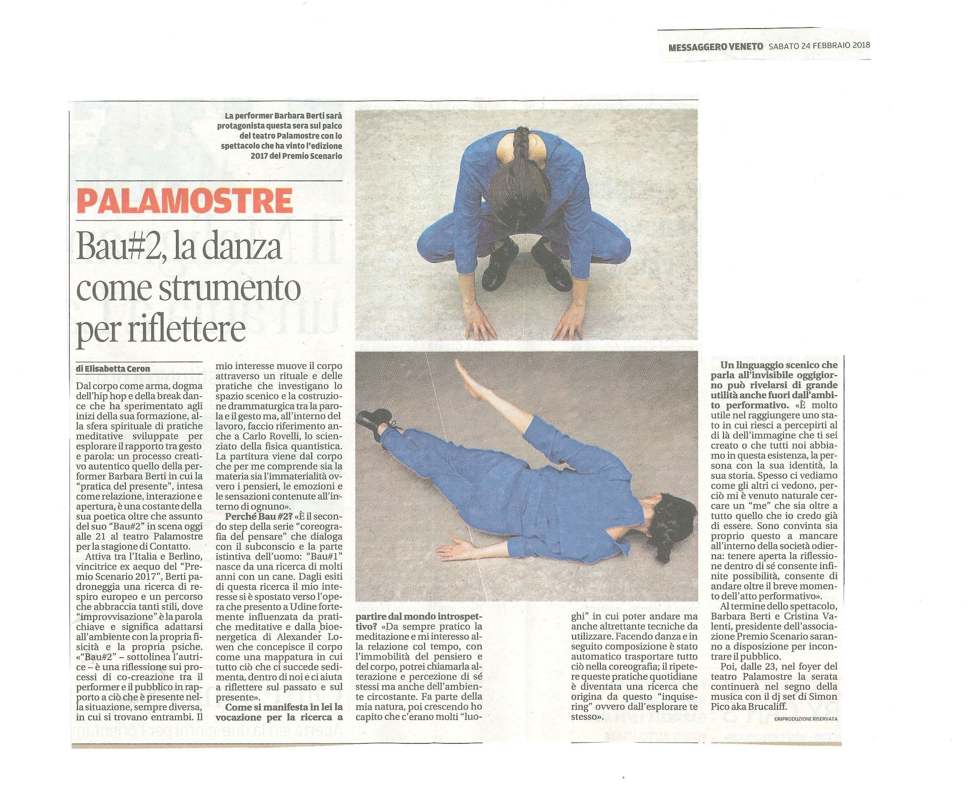 Intervista / Barbara Berti / Bau #2 / Messaggero Veneto / TIR Danza
