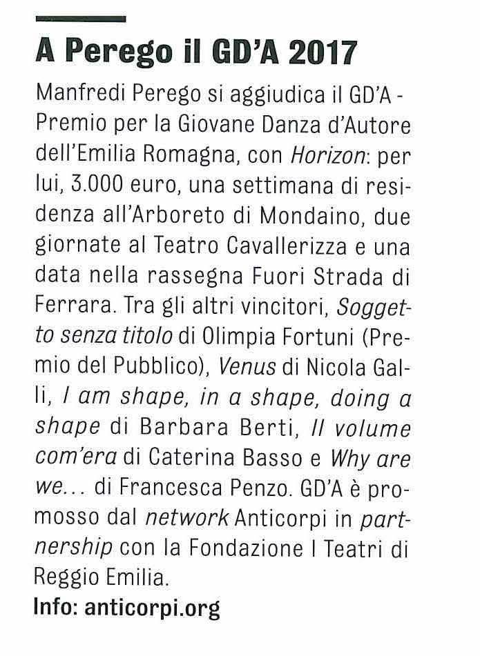 Manfredi Perego / Premio GD'A 2017 / Hystrio n.1 2018