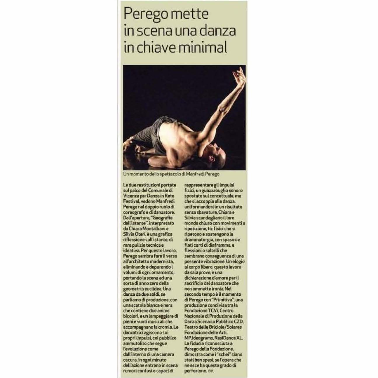 Recensione Primitiva / Geografie dell'istante / Manfredi Perego / Il Giornale di Vicenza, 25 aprile 2018