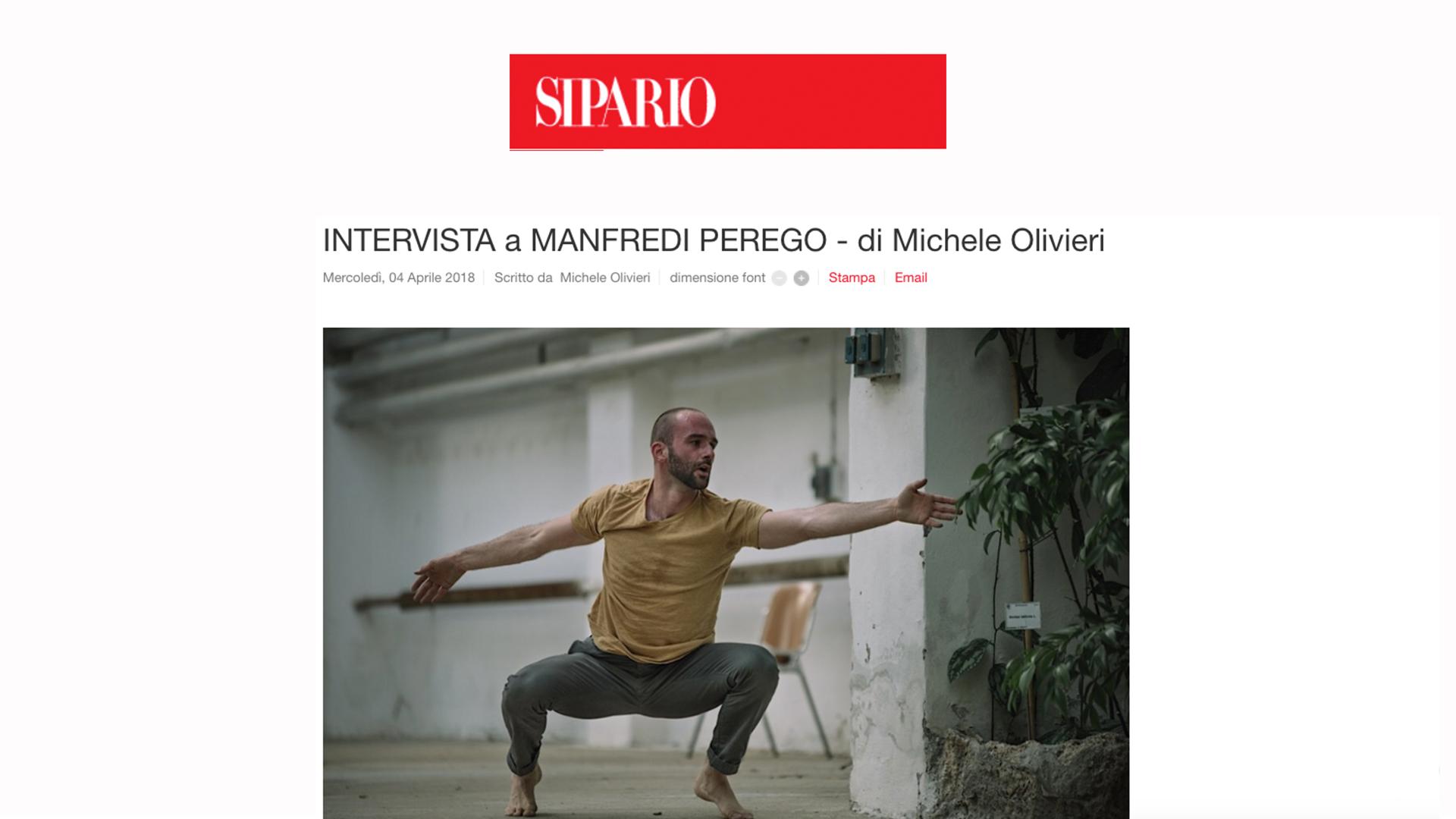 Intervista a Manfredi Perego / SIpario / Michele Olivieri