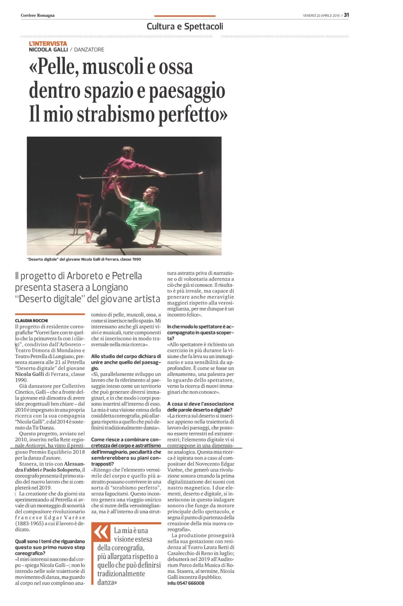 Intervista / Nicola Galli / Deserto digitale / Corriere Romagna / 2018
