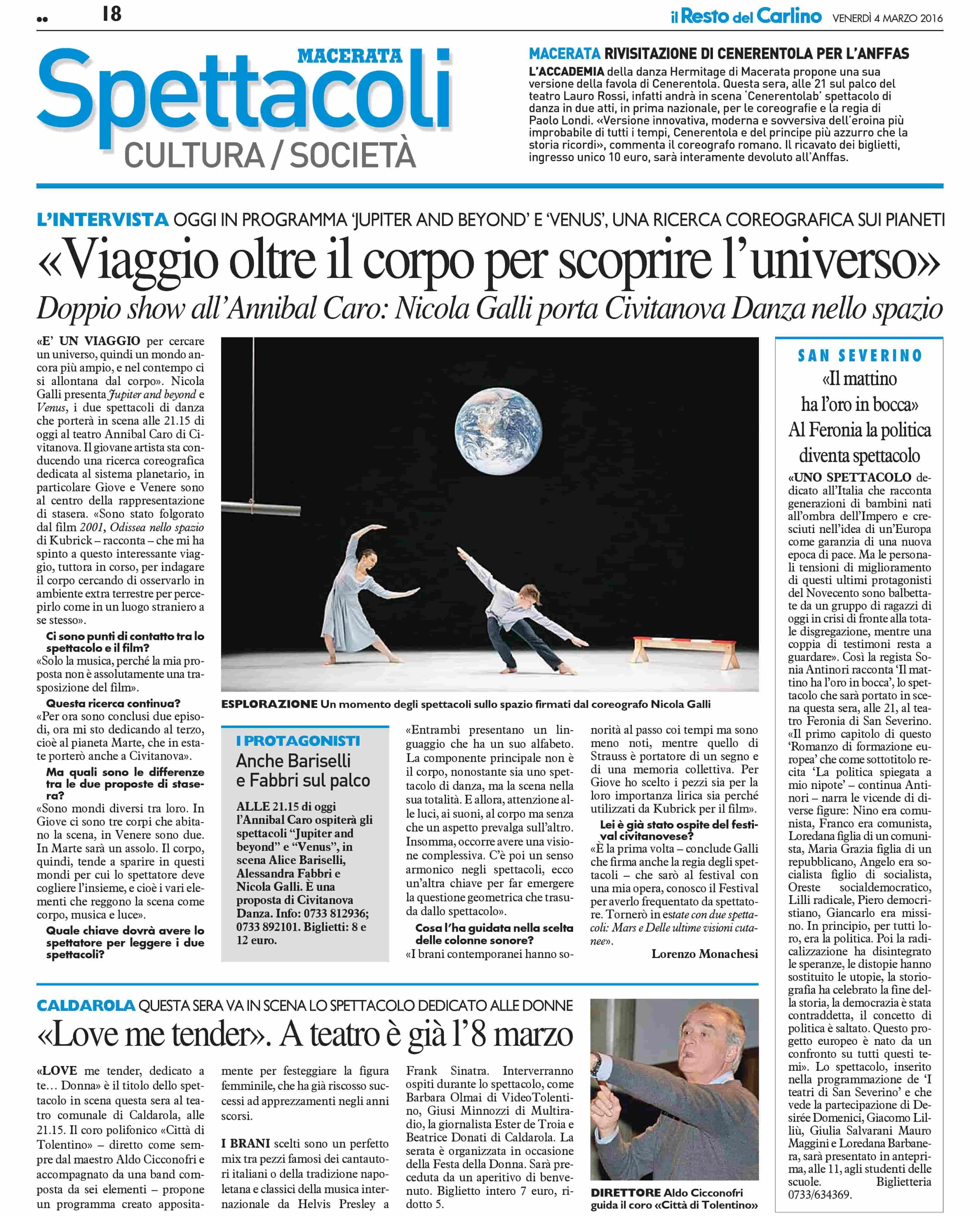 Intervista / Nicola Galli / jupiter_beyond / Venus / Il Resto del Carlino - Macerata 2016