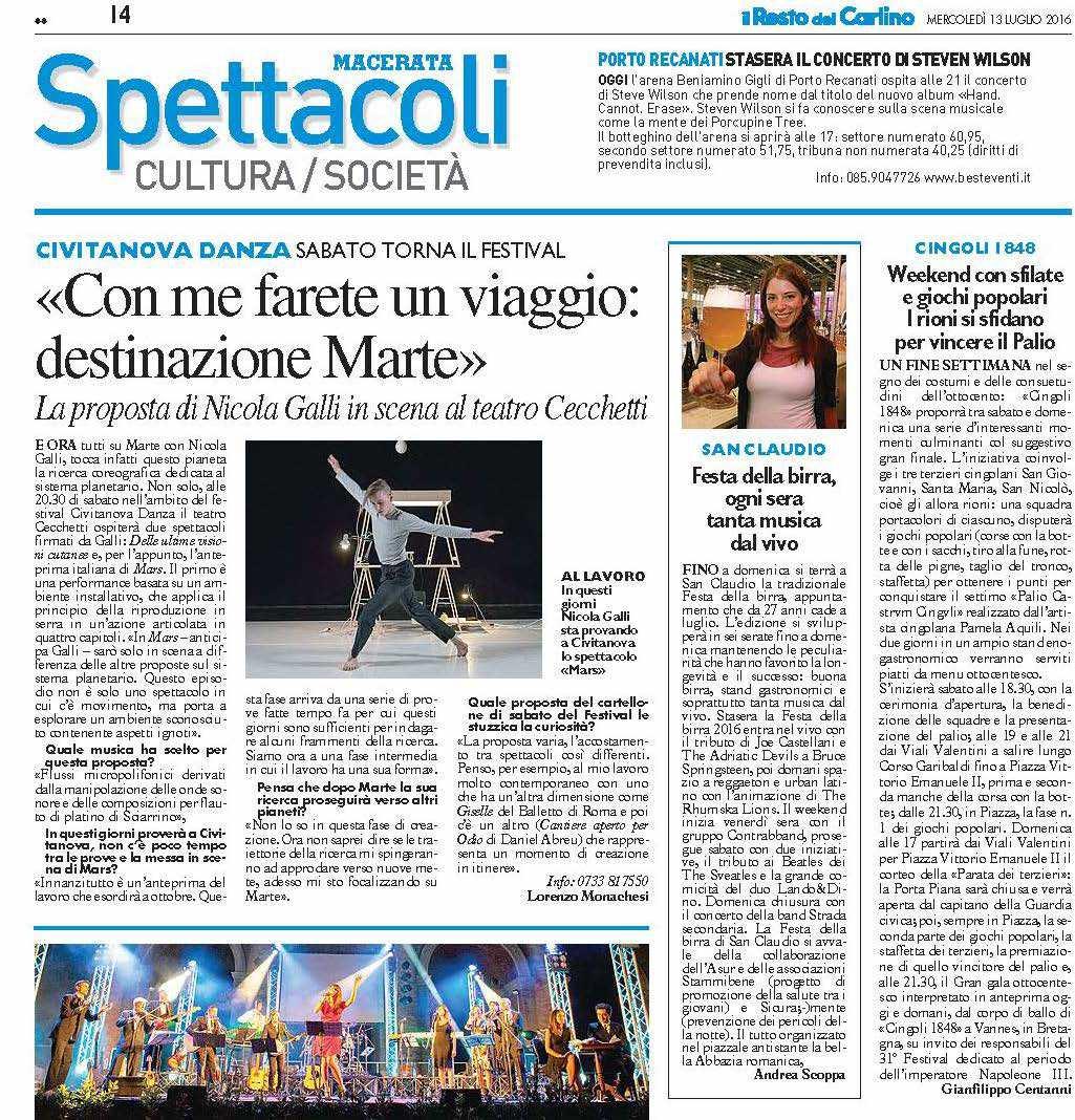 Intervista Nicola Galli / MARS / Il Resto del Carlino - Macerata 2016