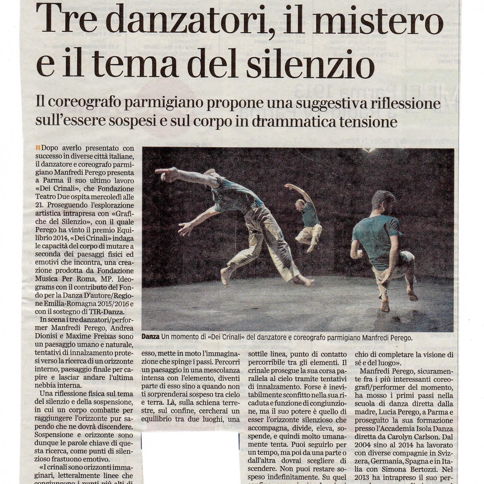 Recensione / Dei Crinali / Manfredi Perego / Gazzetta di Parma