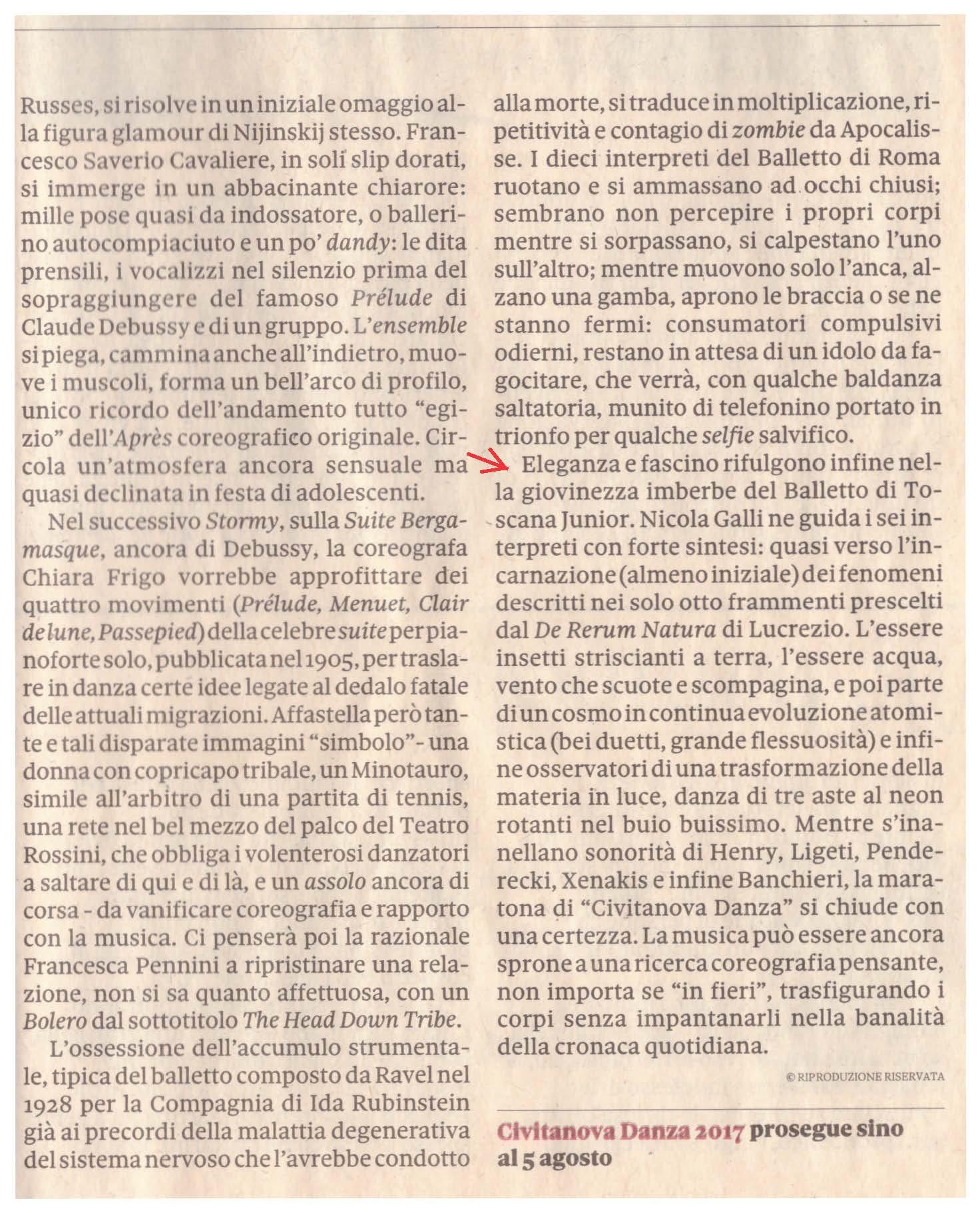 Recensione De rerum natura / Il sole 24 ore / 30 luglio 2017