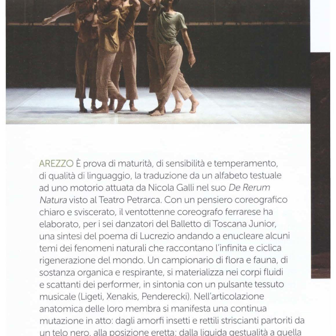 Recensione / De rerum natura / Nicola Galli / Giuseppe Distefano Danza&Danza - maggio/giugno 2018