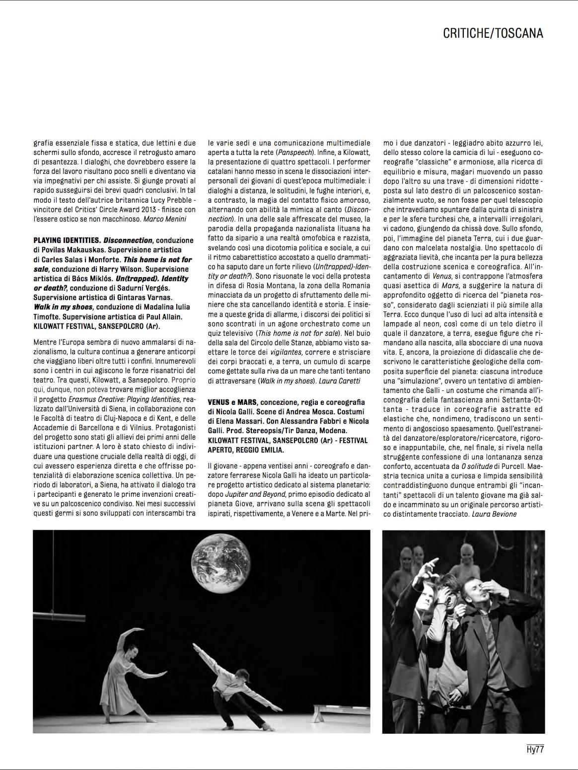 Recensione / Venus - Mars / Nicola Galli / Hystrio 2016 Laura Bevione